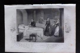 H. Tyrrell 1858 Antique Print. Miss Florence Nightingale in the Hospital at Scutari